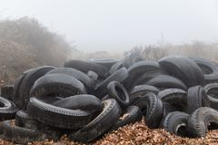 Heap of old tires stock image