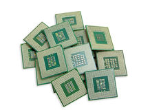 Heap of old unused CPU processors Royalty Free Stock Image