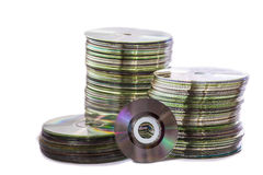 Heap of old used cd and mini disks Royalty Free Stock Photos