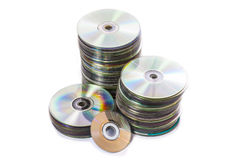 Heap of old used cd and mini disks Royalty Free Stock Image