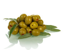 Heap of olives on white Royalty Free Stock Photos