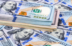 Heap of one hundred american dollar bills Royalty Free Stock Photo