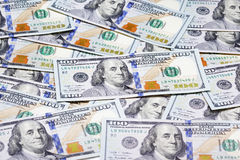 Heap of one hundred dollar banknotes Stock Photos