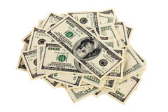Heap of one hundred dollar bills U.S. Royalty Free Stock Photo