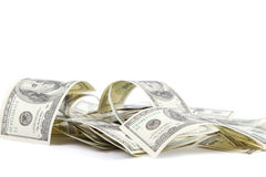 Heap of one hundred dollar bills U.S.. Royalty Free Stock Photo
