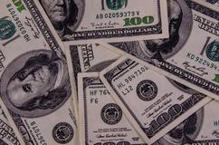 Background of one hundred dollars bills. Heap of the one hundred dollars bills for background Stock Photos