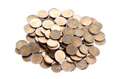 Heap of one and two euro coins isolated on white Royalty Free Stock Images