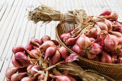 Heap of the onions on bamboo floor. Heap of onions on bamboo floor Stock Images