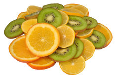 Heap of orange, lemon and kiwi slices on a white Royalty Free Stock Photos