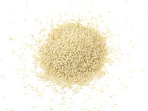 Heap of organic natural sesame seeds over white background.  stock image