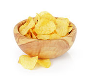 Heap of organic potato chips isolated on white Stock Photography