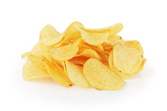 Heap of organic potato chips isolated on white Royalty Free Stock Images