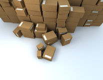 Heap of packages. Vertiginous camera angle on a very high pile of parcels Stock Image