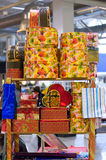 Heap of packing color gift boxeson the table Stock Photo