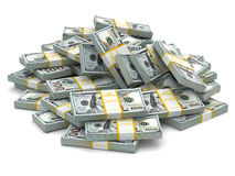 Heap of packs of dollars. Lots of cash money. 3d Vector Illustration