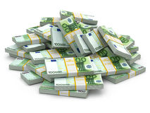Heap of packs of euro. Lots of cash money. Royalty Free Stock Photos
