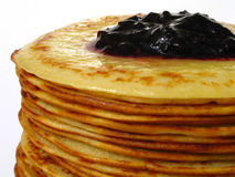 Heap of pancakes with home-made jam macro Stock Images
