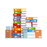 Heap of paper document file folders and boxes. Heap of paper document file folders and cardboard boxes. Huge pile of paperwork. Bureaucracy concept. Flat style vector illustration