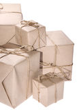 Heap of parcels isolated on white Royalty Free Stock Photo