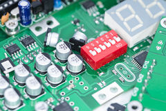 Heap of PCBs and electronic components Stock Photo