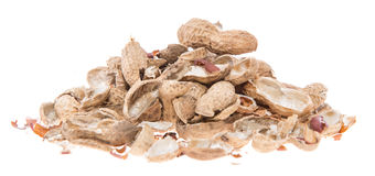 Heap of Peanut shells isolated on white Royalty Free Stock Images