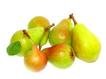 Heap of pear. With stem and green leaf. Isolated over white stock photography