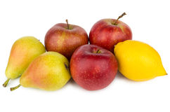 Heap of pears, apples and lemon isolated on white Royalty Free Stock Photo