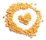 Heap of peas and heart form Royalty Free Stock Photography