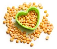 Heap of peas and heart form Stock Photo