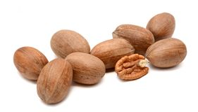 Pecan nuts on a white background royalty free stock photos