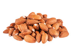 Heap of peeled almonds isolated Stock Photos