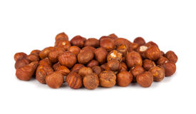 Heap of peeled filbert nuts Royalty Free Stock Images