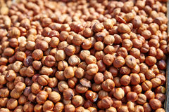 Heap of peeled hazelnuts. Stock Photo