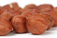 Heap of peeled hazelnuts macro photo Stock Photography