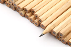 Heap of pencil with one sharpen Stock Photography