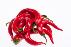 Heap  of pepper paprica pepperoni isolated on white background Stock Photography