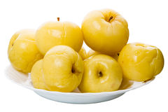 Heap pickled apples on a plate Stock Photography