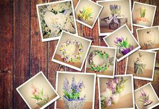 Heap of pictures. Heap of printed vintage pictures with floral decorations theme on brown wooden background Stock Photos