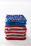 Heap of pieces of patchwork fabrics ordered like USA flag Stock Photography