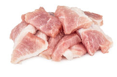 Heap of pieces raw pork isolated on white Royalty Free Stock Images