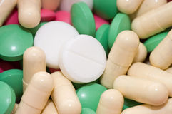 Heap of pills as a background Stock Photo