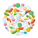 Heap of pills. On a white background stock illustration