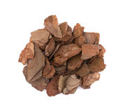 Heap Of Pine Tree Bark Chip Isolated Stock Images