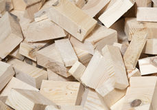 Heap of pine wood cuttings Stock Images