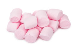 Heap of pink chewing marshmallow isolated on white. Background Royalty Free Stock Image