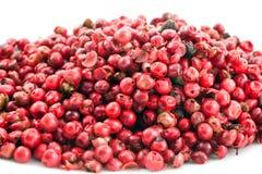 Heap of pink pepper in corns closeup Stock Photo