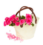 Heap of  pink  roses bouquet with petals Royalty Free Stock Image