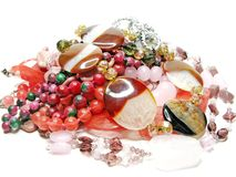 Heap of pink semigem beads Royalty Free Stock Image