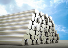 Heap of pipes. 3d rendering heap of metal pipes stock illustration