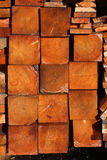 Heap plank. Wood orange plank stock in the sun Stock Images